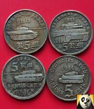 German Deutsche 5 RM ReichsMark Tiger Panzer Tank Division WWII WW2 Coin Set