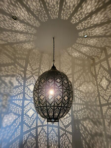 Moroccan Dark Bronze Ceiling Pendant Light with Hook, Cable & Chain - H95xW60cm
