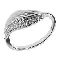 Damen Ring echt Silber 925 Sterling rhodiniert floraler Pavé Ring mit Zirkonia