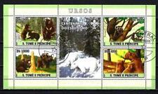 Animales Osos Saint Thomas y Príncipe (225) completo 4 sellos matasellados hoja