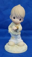 Precious Moments Wait Patiently On The Lord Boy Figurine w Watch #325279 Mint