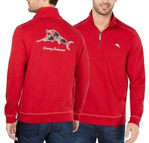 Tommy Bahama Men's Scooter Red Poinsettia Marlin Nassau 1/2 Zip Sweatshirt