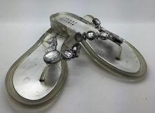 STUART WIETZMAN Clear & Silver Jelly Flip Flop Sandals Jewels  Women's Girl's 3M