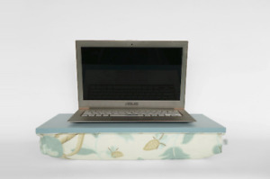 Turquoise tray, thick mint floral pillow, lapdesk, breakfast tray