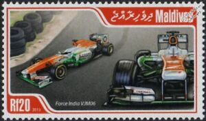 2013 FORCE INDIA VJM06 Formula One F1 Grand Prix Race Car Stamp (2013 Maldives)