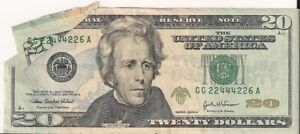 2004 $20 NOTE, PRINTED FOLDOVER (( EYE APPEAL - MAJOR FOLD ERROR ))