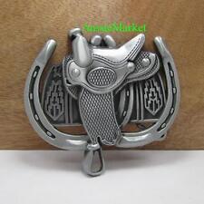 1 x mens ladies belt buckle quality metal alloy jeans horse shoe cowboy saddle