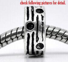 50 Perles Bloqueur à Motif pr Bracelet Charms 11x5mm