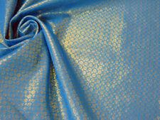 BLUE GOLD FLORAL METALLIC STIFF LIGHT BROCADE FABRIC for Wedding Decor Craft