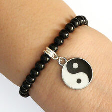 Round Crystal Yin Yang Charm Bracelet Black Beads with Elastic Cord