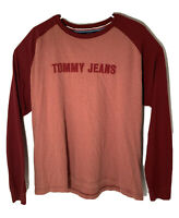 Vtg 90s Tommy Jeans Men Red Long Sleeve Tshirt Embroidered Spell Out Size Large