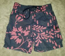 BABY GIRLS Sz 0 blue & pink COUNTRY ROAD floral shorts CUTE! ELASTIC WAIST!