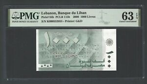 Lebanon 1000 Lira 2008 P84b N090552055 Uncirculated Grade 63