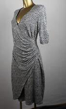 Comma Kleid  42  schwarz weiß  langarm Wickel-Optik