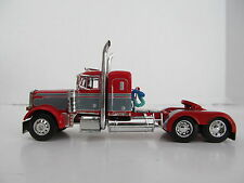 DCP 1/64 SCALE 379 PETERBILT SMALL BUNK (DAY CAB OPT) RED W GRAY SEMINOLE STRIPE