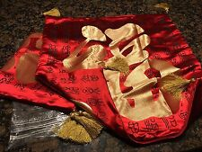 "2 Chinese Character Pillow cushion Cases 24x24"" Red and Gold with Tassles"