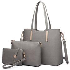 Damen Handtasche Elegant PU Leder Umhängetasche Tasche 3 Stück Set