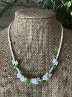 "Sweet Bohemian Vintage 15"" Opalescent Glass Leaves & Flowers Bead Necklace NOS"