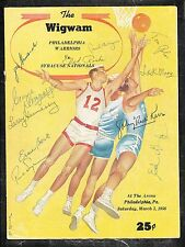 MARCH 3 1956 PHIL. WARRIORS VS SYRACUSE NATIONALS SIGNED UN-SCORED PROGRAM