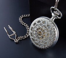 Silver Mechanical Steampunk Skeleton Heart Web Cobweb Filigree Pocket Fob Watch