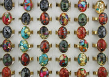 Wholesale Mixed Lots Charm Shell 32pcs Women's Stainless Steel Gold P Rings