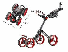 CaddyTek SuperLite Deluxe 4 Wheel Golf Push Cart Ver. 2, The Explorer V2, RED