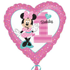 Minnie Mouse Age 1/1st Birthday Heart Shaped Foil Balloon