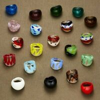 Charm Murano Lampwork Glass Big Rings Flower Womens Men Wedding Jewellery Gift