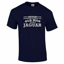 Jaguar Never Underestimate An Old Man With A t shirt Silver Logo Size to 5XL