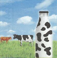 2 Serviettes en papier Vache Pré Lait - Paper Napkins Milk Cow