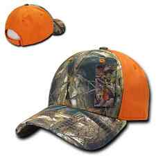 Camo Orange Cotton Structured Low Crown Curved Mossy Baseball Ball Cap Hat