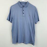All Saints Blue Cotton Stretchy Polo Shirt Size Large