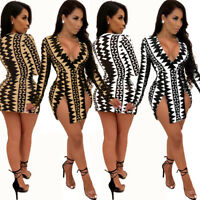 Women Sexy V Neck Long Sleeves Digital Print Casual Club Party Slit Mini Dress