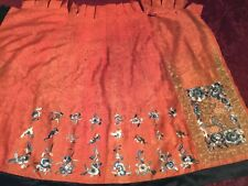 ANTIQUE 19th c QI'ING CHINESE DAMASK SILK EMBROIDERED HALF-SKIRT EMBROIDERY!