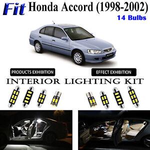 14pcs Super White LED Interior Light Kit For Honda Accord Sedan 1998-2002 Lamps