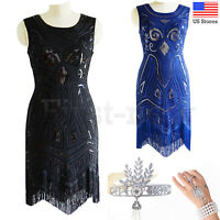 1920s Dress Flapper Gatsby Beaded Sequins Fringe Prom Gown Vintage Party Dresses