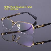 100% Pure Titanium Reading Glasses Half Rimless Men's Readers Glasses +50 +500
