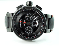 Louis Vuitton Auto Black Race Track Dial Chrono Tambour Moon Watch 45mm Date GMT