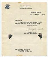 C. Douglas Dillon Signed Letter Autographed Signature Treasury Secretary