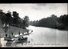 PARIS BOIS DE BOULOGNE / BATEAU à l'EMBARCADERE du LAC animé avant 1904