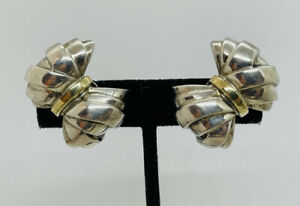 Tiffany & Co. Authentic Sterling Silver & 18k Gold Bow Earrings