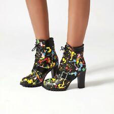 Womens Mid-calf Boots Chunky High Heel Lace Up Lady Fashion Graffiti Boot Black