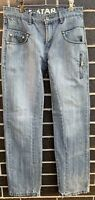 G Star Raw Men's Elwood 3301 Jeans Size 30 Denim Wash Grey Zipper Fly Distressed