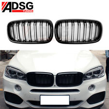 For BMW X5 F15 X6 F16 Painted Black 2 Fin Front Hood Grille 2015 2016