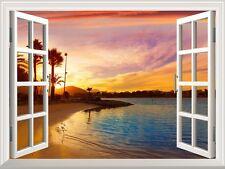 "Wall Mural - Tropical Beach View at Sunset | Window View Wall Decor - 36""x48"""
