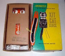 VINTAGE 60's ELECTRIC ORANGE KIT CAT KLOCK-KAT CLOCK-ORIGINAL MOTOR REBUILT-USA