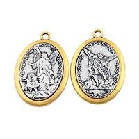 2pcs St. Michael Archangel Catholic Patron Saint Medal Metal Necklace Pendant