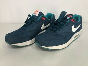 Men's Size 10.5 - RARE NIKE AIR MAX 1 Turquoise DENIM Blue Sneakers Shoes Jeans