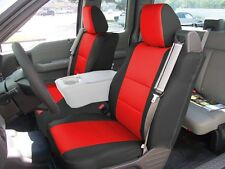 FORD F-150 04-08 S.LEATHER FRONT CUSTOM SEAT COVER BUILT IN SEAT BELT BLACK/RED