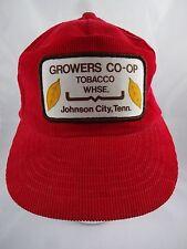 Red Corduroy Baseball Hat Cap Tobacco Growers Co-op Warehouse Snapback
